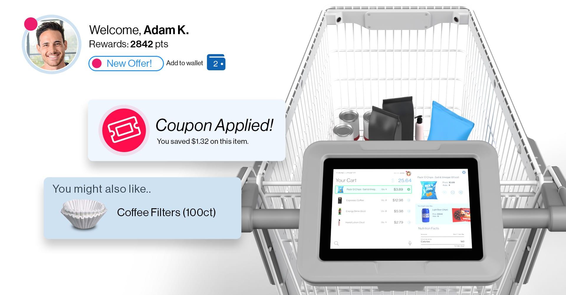 Esperienza di acquisto smart cart personalizzata in negozio con Tracxpoint
