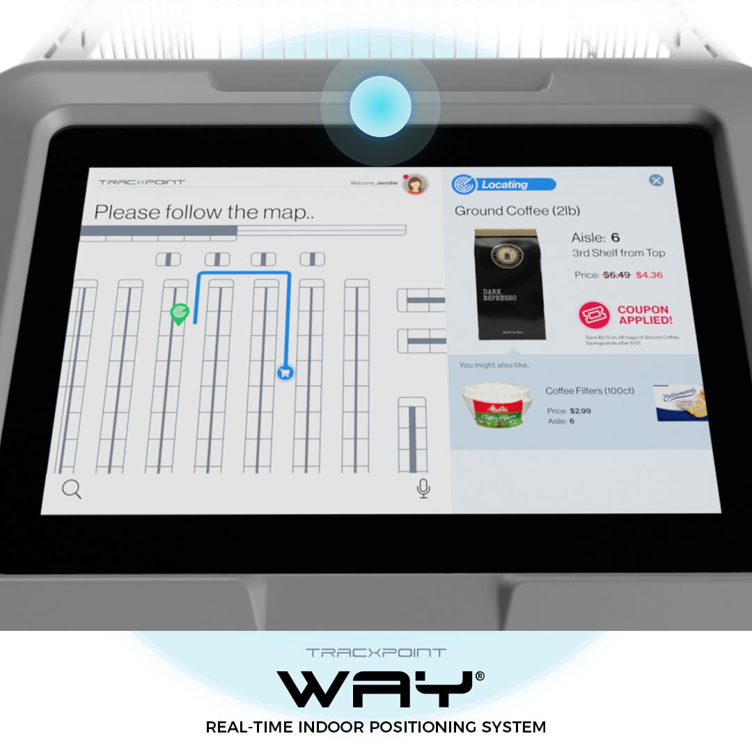 sistema di posizionamento interno intelligente per carrello della spesa di Tracxpoint